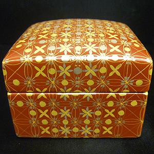 ≪米久和彦≫「赤絵金襴手白金襴手更紗小紋 ジュエリーボックス」