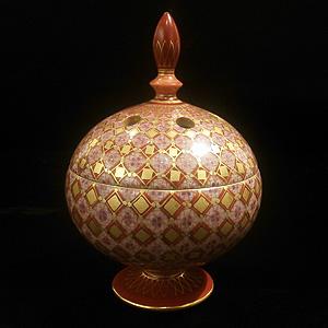 ≪米久和彦≫「赤絵金襴手更紗小紋 高香炉(小)」