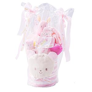 ≪赤ちゃんの城≫ギフトセット「タオル2段ケーキ」(ピンク)