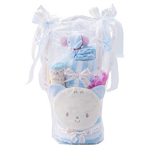 ≪赤ちゃんの城≫ギフトセット「タオル2段ケーキ」(サックス)