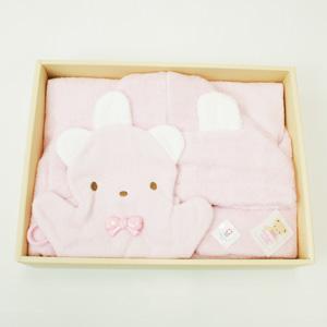 ≪ファミリア≫ポンチョ型バスタオルギフトセット(ピンク)