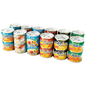 《ハロートーク》 お楽しみ福袋 〈サンヨー〉フルーツ缶詰・みつ豆缶詰 詰合せ