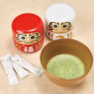 《ハロートーク》 【特別価格】 〈丸山製茶〉開運紅白だるま缶セット(抹茶スティック) 計30包入