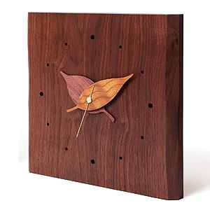 ≪ドリーミィーパーソン≫壁掛け時計 木の葉時計 ウォルナット