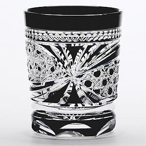 ≪江戸切子≫八角篭目繋ぎ文様 懐石杯 黒 (M-8570BK)