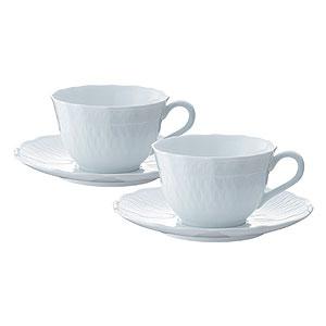 ≪ノリタケ≫シェール ブラン ティー・コーヒー碗皿ペアセット