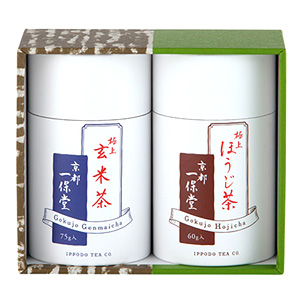 ≪一保堂茶舗≫極上ほうじ茶 60g中缶・玄米茶 75g中缶